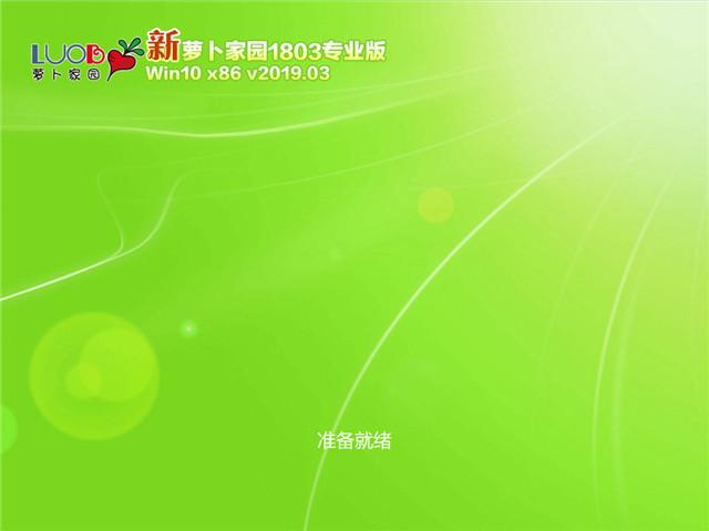 萝卜家园 Win10 x86(1803专业版)v2019.03